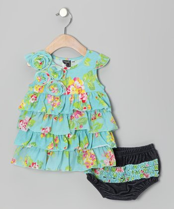 Aqua Orleans Rose Dress & Diaper Cover - Infant