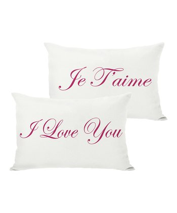 Cream & Red 'Je T'aime' Reversible Throw Pillow