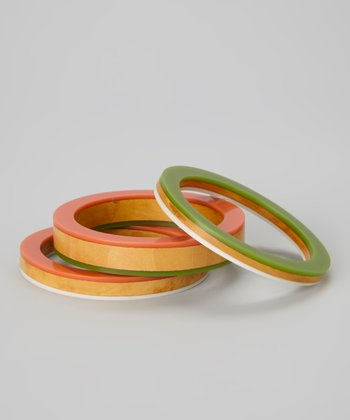 Gray & Orange Wood Bangle Set