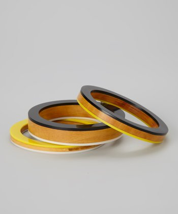 Black & Yellow Wood Bangle Set