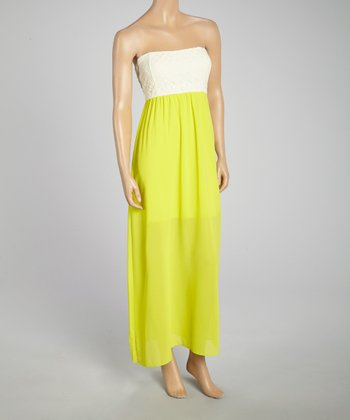 Lime Color Block Maxi Dress - Women