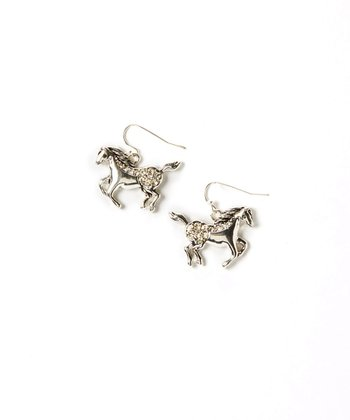 Rhinestone & Silver Horse Earrings