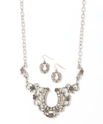 Silver Horseshoe Earrings & Necklace