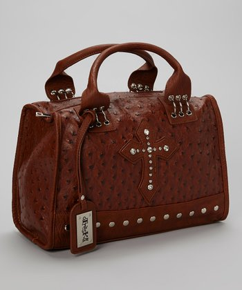 Brown Studded Cross Shoulder Bag