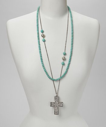 Turquoise & Silver Cross Pendant Necklace