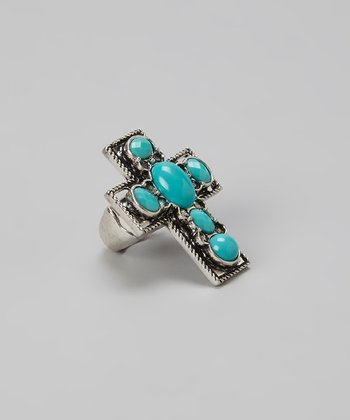 Turquoise & Silver Southwestern Cross Stretch Ring