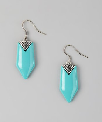 Turquoise & Silver Southwestern Chevron Drop Earrings