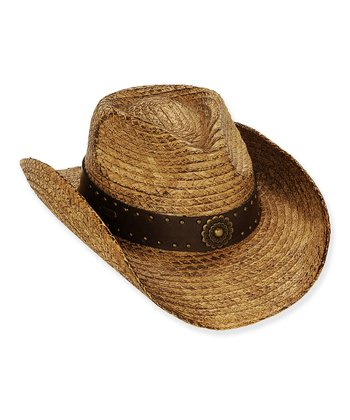 Tan Floral Studded Cowboy Hat