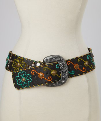 Black Cross Studded Floral Embroidered Belt