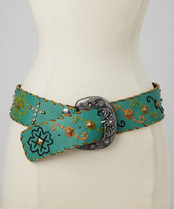 Turquoise Cross Studded Floral Embroidered Belt