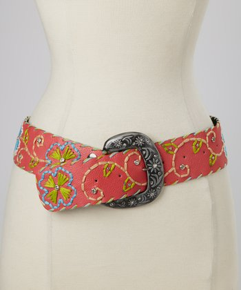 Pink Floral Embroidered Belt