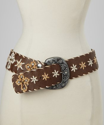 Brown Cross Embroidered Belt