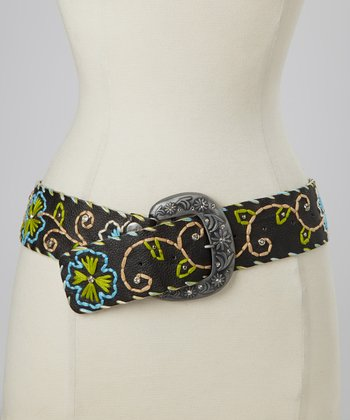Black Floral Embroidered Belt