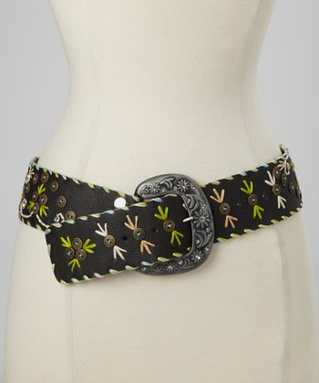 Black Button Embellished Belt