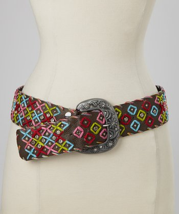 Brown Rhinestone Studded Belt