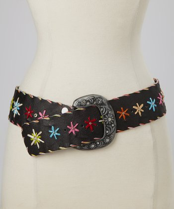 Black Floral Stitched Rhinestone Studded Belt