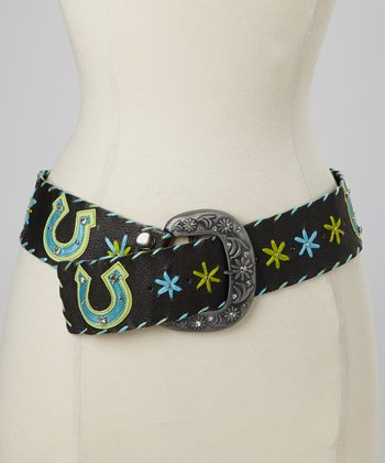 Black & Turquoise Horseshoe Belt