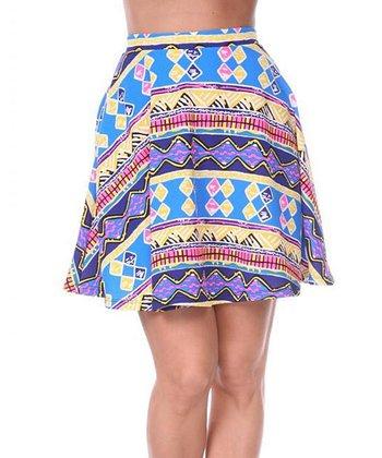 Ultra Pink & Royal Geometric A-Line Skirt