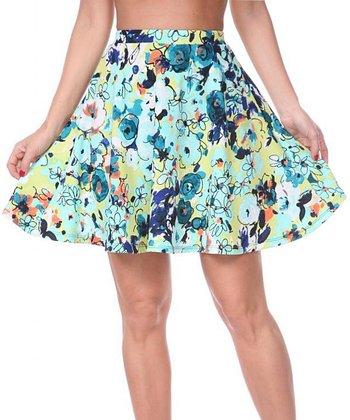 Mint & Green Floral A-Line Skirt
