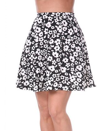 Black & White Floral A-Line Skirt