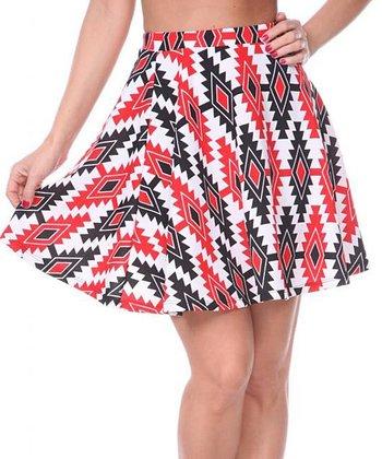 Red & Black Tribal A-Line Skirt