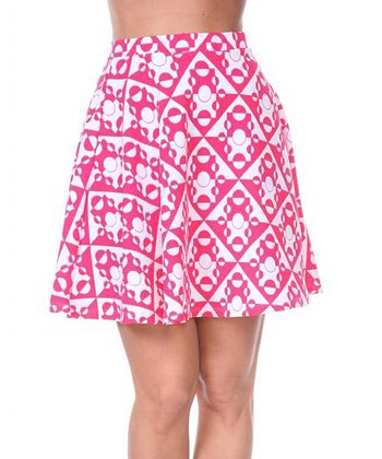 Fuchsia & White Geometric A-Line Skirt