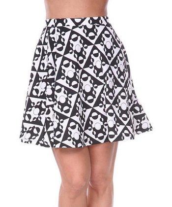 Black & White Geometric A-Line Skirt