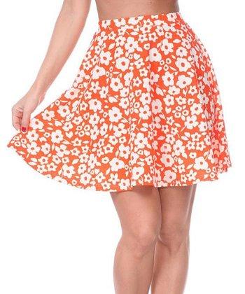 Orange & White Floral A-Line Skirt