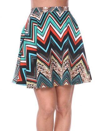 Teal & Orange Zigzag A-Line Skirt