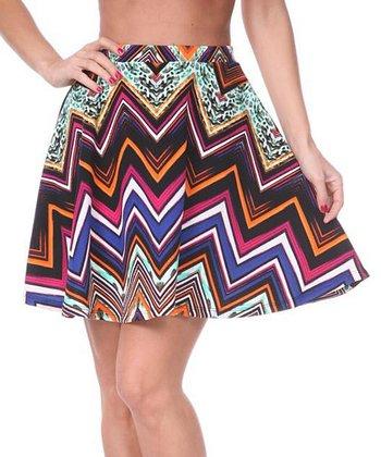 Fuchsia & Orange Zigzag A-Line Skirt