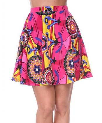 Yellow & Fuchsia Medallion A-Line Skirt