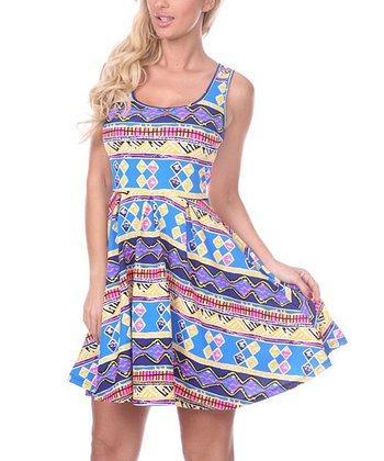 Ultra Pink & Royal Geometric A-Line Sleeveless Dress