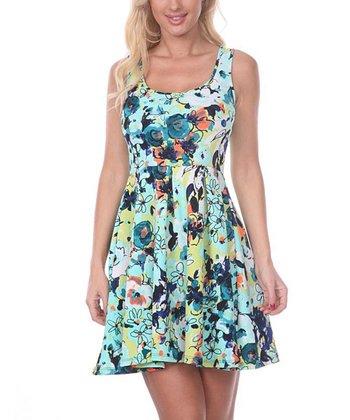 Mint & Green Floral A-Line Sleeveless Dress