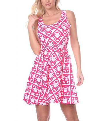 Fuchsia & White Geometric A-Line Sleeveless Dress