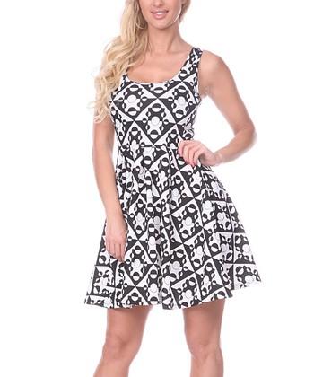 Black & White Geometric A-Line Sleeveless Dress