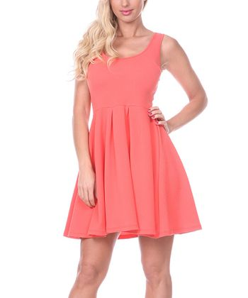 Salmon A-Line Sleeveless Dress