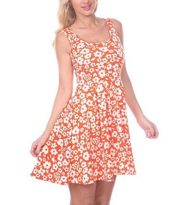 Orange & White Floral A-Line Sleeveless Dress