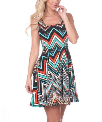 Teal & Orange Zigzag A-Line Sleeveless Dress