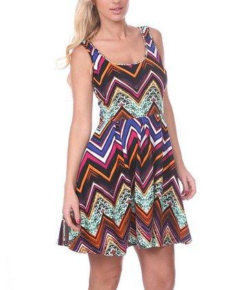 Fuchsia & Orange Zigzag A-Line Sleeveless Dress