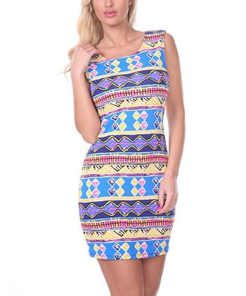 Ultra Pink & Royal Geometric Sheath Dress