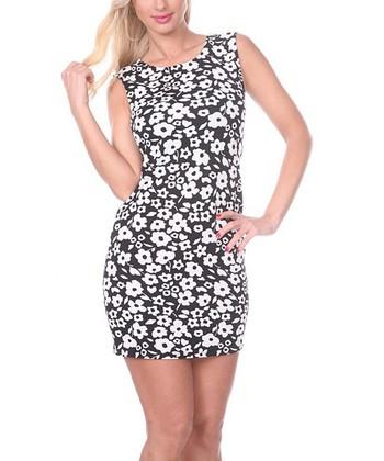 Black & White Floral Sheath Dress