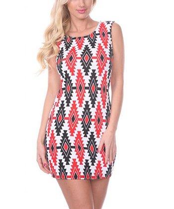 Red & Black Tribal Sheath Dress