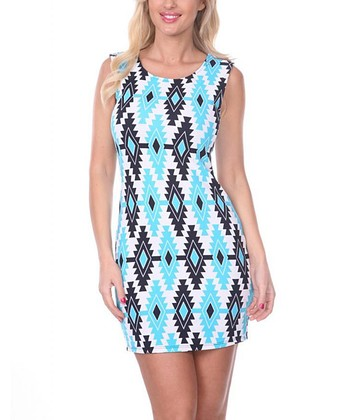 Turquoise & Navy Tribal Sheath Dress