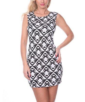 Black & White Geometric Sheath Dress