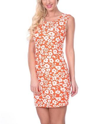 Orange & White Floral Sheath Dress