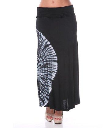 Black Tie-Dye Maxi Skirt
