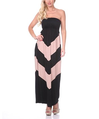 Black & Mocha Chevron Strapless Maxi Dress