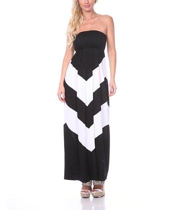 Black & White Chevron Strapless Maxi Dress