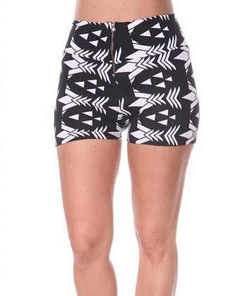Black & White Geometric High-Waist Shorts