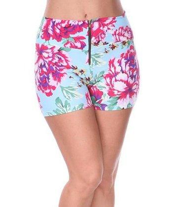 Teal & Fuchsia Floral High-Waist Shorts